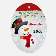 First Christmas Snowman Oval Ornament
