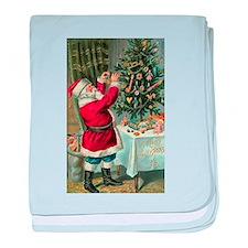 Vintage Santa Christmas Tree baby blanket
