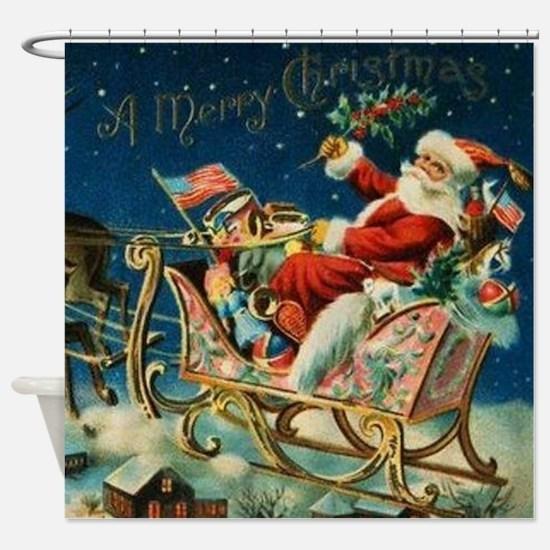 Vintage Santa Sleigh Shower Curtain