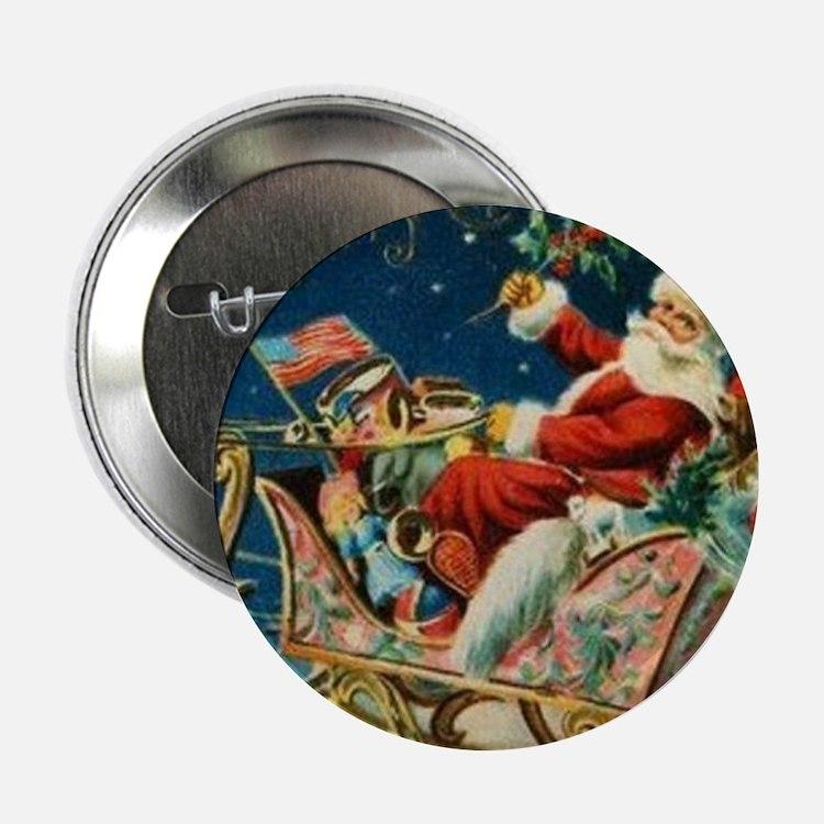 "Vintage Santa Sleigh 2.25"" Button (100 pack)"