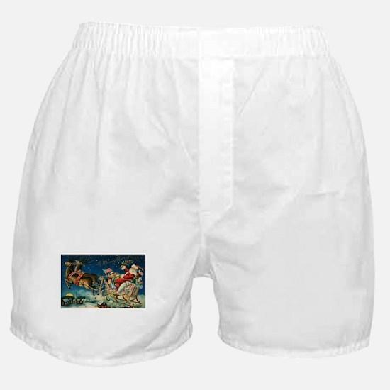 Vintage Santa Sleigh Boxer Shorts