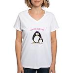 Little Sister penguin Women's V-Neck T-Shirt