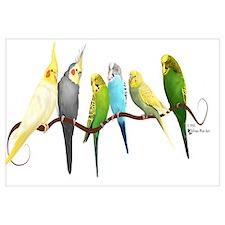 Cute Green parakeets Wall Art