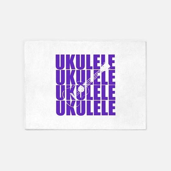 Purple Ukulele 5'x7'Area Rug