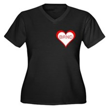 Band Hearts Women's Plus Size V-Neck Dark T-Shirt