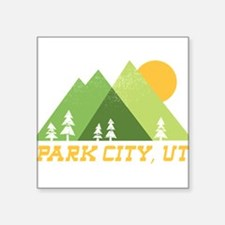 "Cute Park city Square Sticker 3"" x 3"""