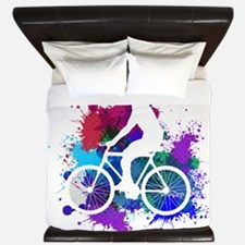 Cyclist on Multicolored Paint Splatters white V3 K