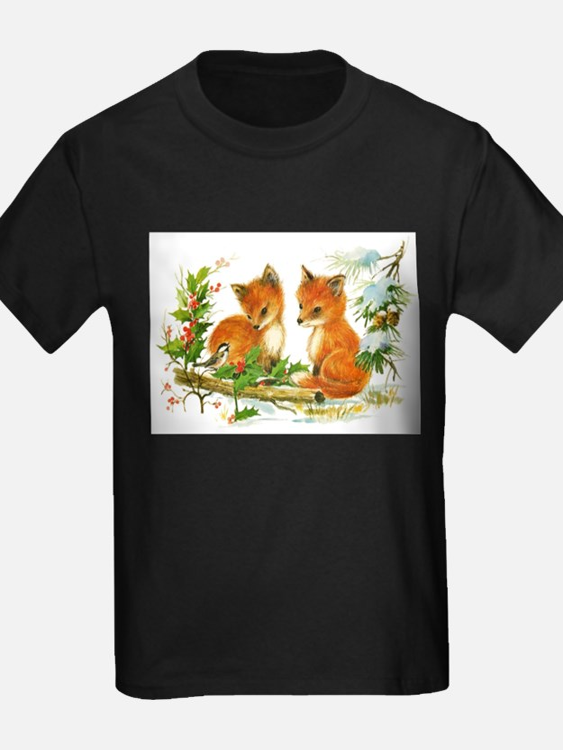 Cute Vintage Christmas Foxes T-Shirt