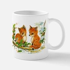 Cute Vintage Christmas Foxes Mugs