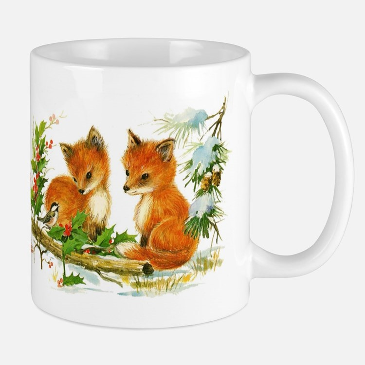 Cute Vintage Christmas Foxes Mugs