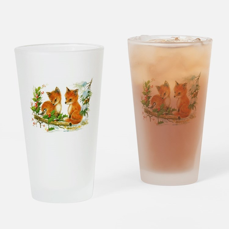 Cute Vintage Christmas Foxes Drinking Glass