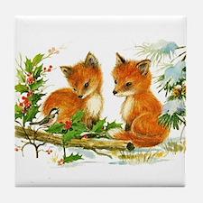 Cute Vintage Christmas Foxes Tile Coaster