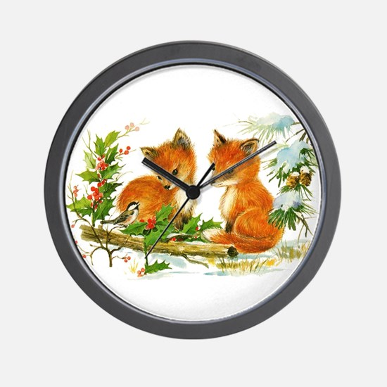 Cute Vintage Christmas Foxes Wall Clock