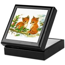 Cute Vintage Christmas Foxes Keepsake Box