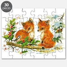 Cute Vintage Christmas Foxes Puzzle