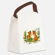 Cute Vintage Christmas Foxes Canvas Lunch Bag