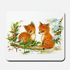 Cute Vintage Christmas Foxes Mousepad