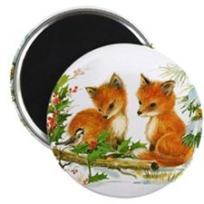 Cute Vintage Christmas Foxes Magnets