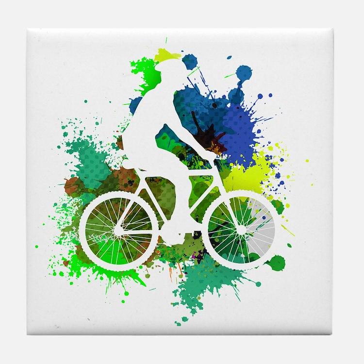 Cute Cycling male Tile Coaster