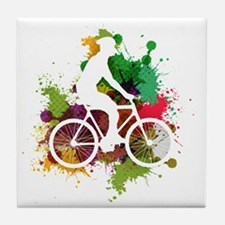 Funny Cycling male Tile Coaster