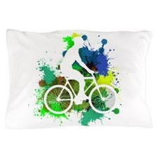 Cyclist of Multicolored Paint Splatter Pillow Case