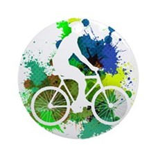 Cyclist of Multicolored Paint Splat Round Ornament