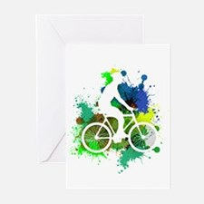 Cyclist of Multicolored Paint Splat Greeting Cards
