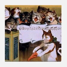 Vintage Cats Christmas Tile Coaster