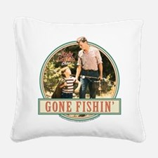 Gone Fishin' Square Canvas Pillow