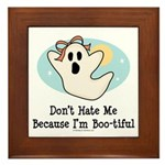 Halloween Bootiful Ghost Framed Tile