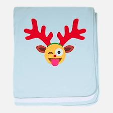 christmas reindeer winking emoji baby blanket