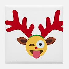 christmas reindeer winking emoji Tile Coaster