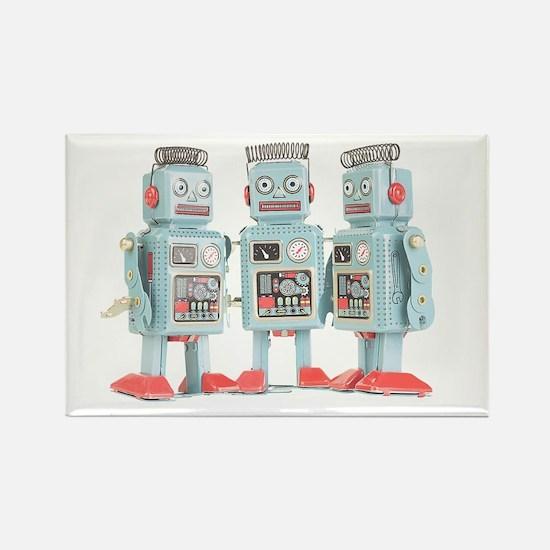 Vintage Robots Rectangle Magnet