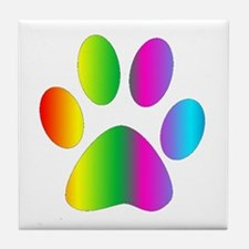 Rainbow Paw Print Tile Coaster