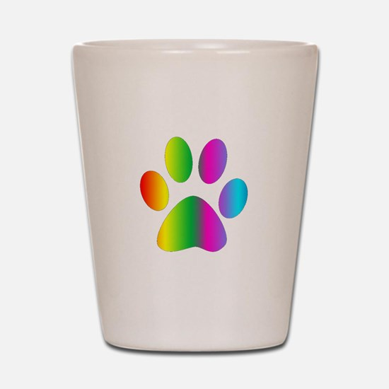 Rainbow Paw Print Shot Glass