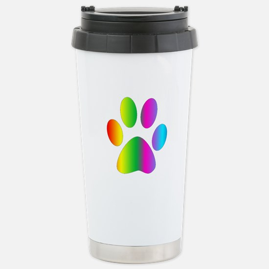 Rainbow Paw Print Travel Mug