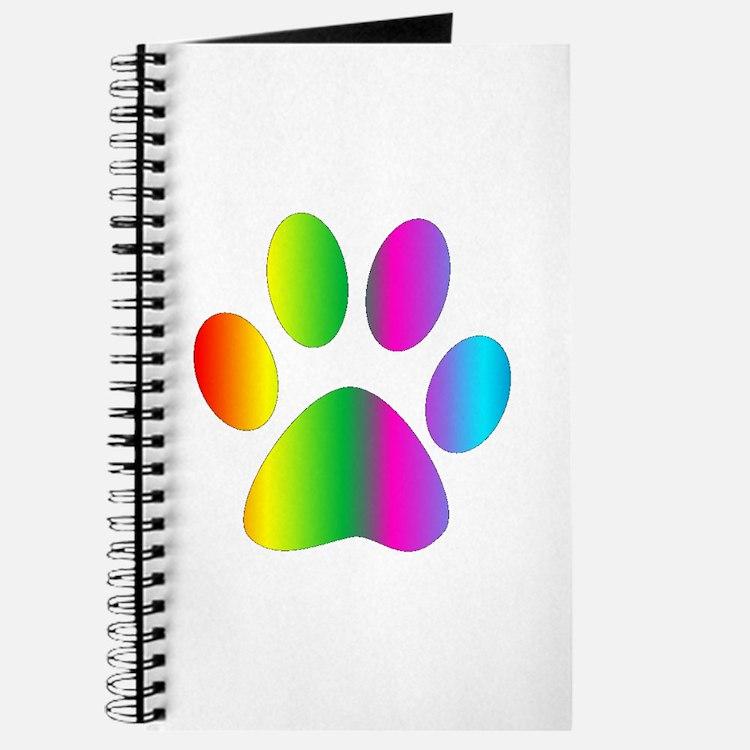 Rainbow Paw Print Journal