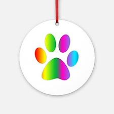Rainbow Paw Print Ornament (Round)