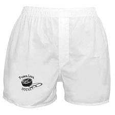 Peace Love Hockey Boxer Shorts