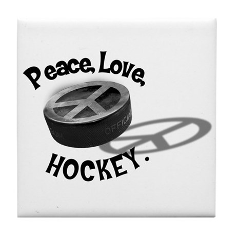 Peace Love Hockey Tile Coaster