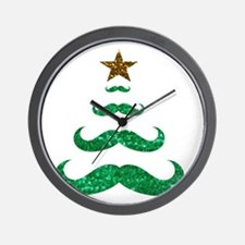 mustache christmas tree Wall Clock