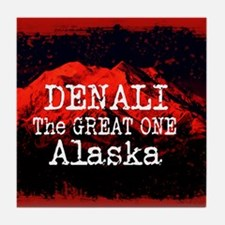 DENALI MOUNTAIN ALASKA RED Tile Coaster
