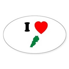 I heart Map Oval Decal