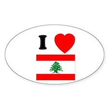 I Heart Flag Oval Decal