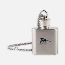 Magpie Bird in Flight Flask Necklace