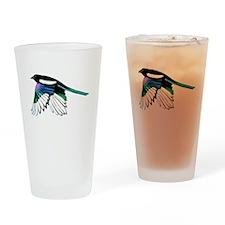 Magpie Bird in Flight Drinking Glass