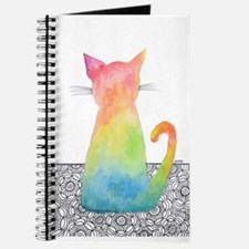Watercolor Tie Dye Cat With Flowers 1 Journal