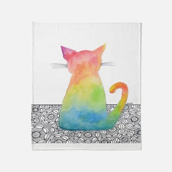 Watercolor Tie Dye Cat With Flowers Throw Blanket