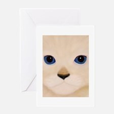 Cat Face Blue Eyes Greeting Cards