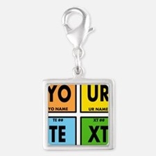 Your Text Periodic Elements N Silver Square Charm